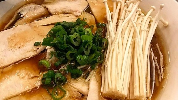 New Shoyu Ramen in the works, with mushrooms and green onion at Ivan Ramen
