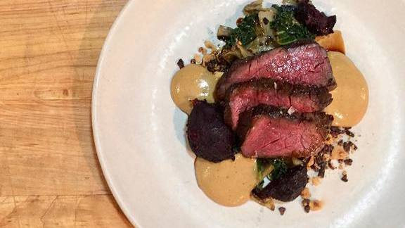Chef Trevor Bird reviews Slow roasted elk, charred beets, cabbage, porcini, hazelnut-cocoa gremolata at Fable