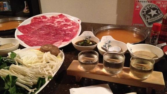 Spicy miso broth with a combo plate of beef and pork at Shabu House