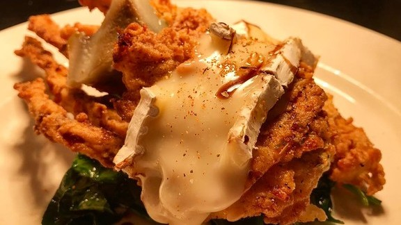 Softshells and brie, garlic, spinach, artichokes, Vin Cotto at Emeril's New Orleans