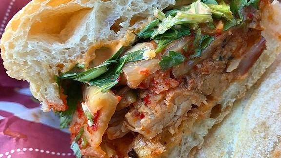 Korean pork shoulder with house kimchi, chili mayo and lime at Lardo East