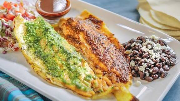 Chef David Gingrass reviews Trucha a la Parrilla (Grilled Rainbow Trout) with red and green glazed salsas and tortillas at Pacific Catch