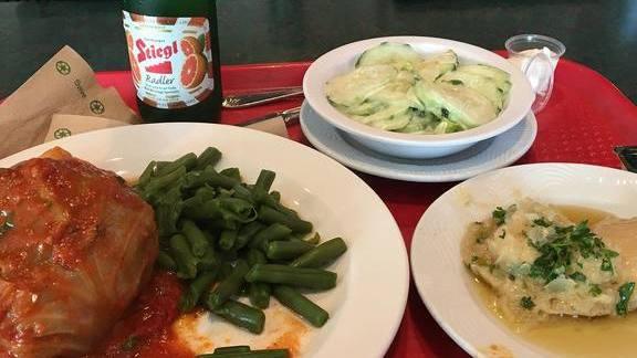 Stuffed cabbage, green beans, cucumber salad at Sokolowski's University Inn
