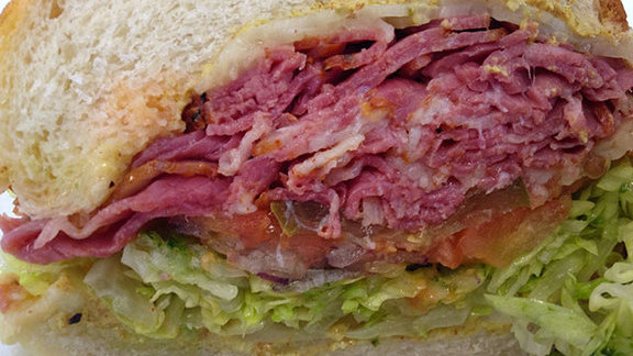Chef Geoffrey Lee reviews Pastrami sandwich on Dutch crunch at