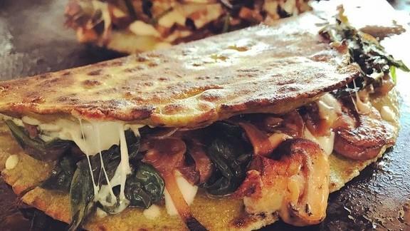 Quesadilla, grilled mushrooms & spinach, caramelized onion, oaxaca cheese at El Techo de Lolinda