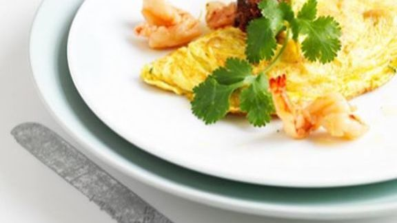 Sugar-cured prawn omelette at The Modern Pantry