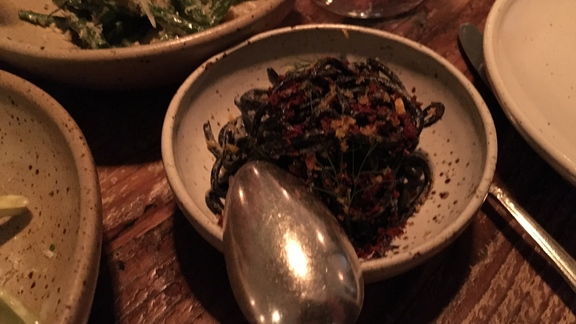 Chilled squid ink noodles, bottarga, fennel at Octavia