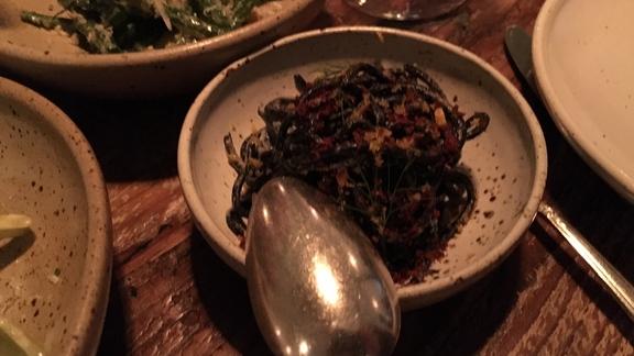 Chef Kyle Itani reviews Chilled squid ink noodles, bottarga, fennel at Octavia