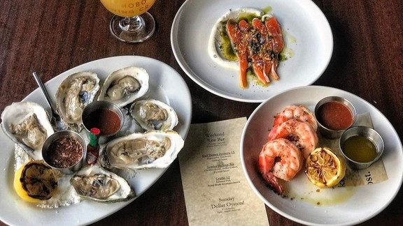 Chef Matthew Bullock reviews Oyster on the half shell, crudo and jumbo shrimp at Lord Hobo