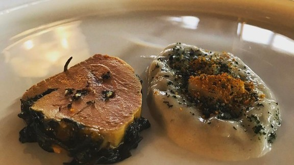 Foie gras, seaweed, and eel at République