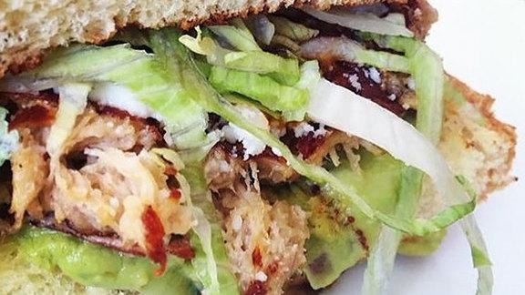 Chef Susan Feniger reviews Chicken torta sandwich at