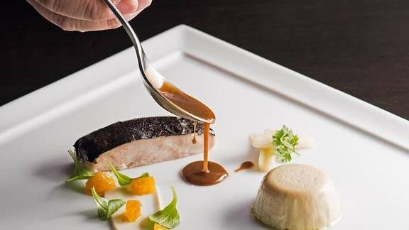 Chef Ryan McCaskey reviews Poussin, foie gras flan, truffle, cardoon, rutabaga mostarda, parsley root puree at Acadia