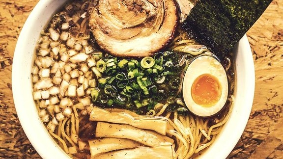 Ramen with chicken and seafood broth topped off with garlic shmaltz at Ramen Tatsu-ya