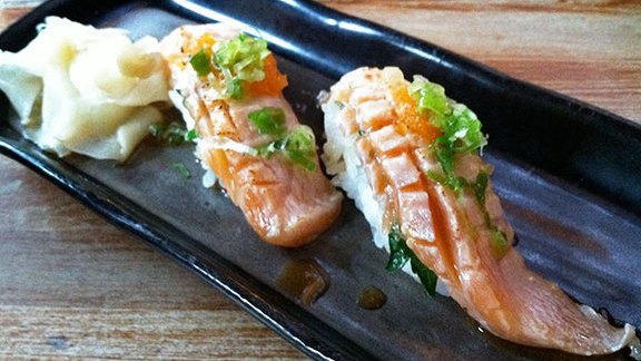 Salmon belly at Moshi Moshi Sushi