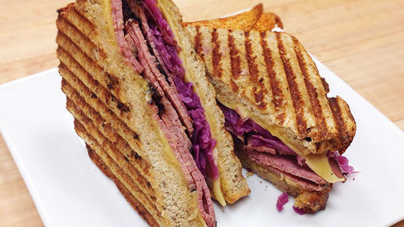 Chef Paul O'Connell reviews Pastrami sandwich at