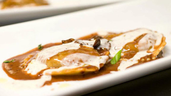 Chef Cyrille Holota reviews Braised veal shank ravioli at