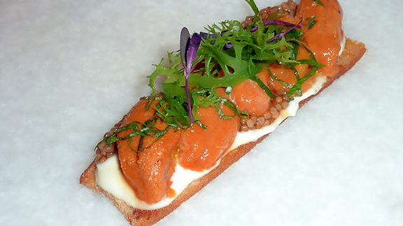 Sea urchin toast at Aldea