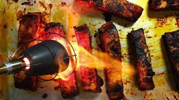 Chef Steve  Santana reviews Pork belly for taco course and corn dinner at Cantina La Veinte Miami