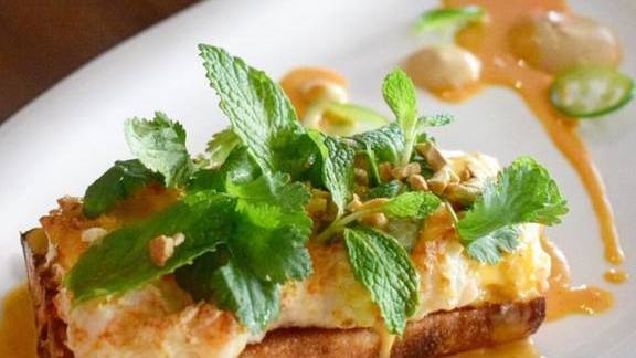 Chef Nguyet Nguyen reviews Crispy baguette with soft shrimp and kimchee butter for Gulf Shrimp Toast at Hubbell & Hudson Bistro