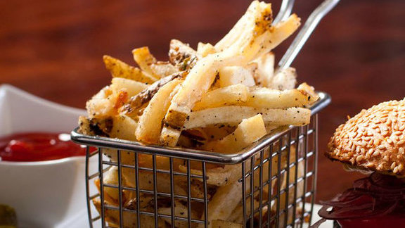 Hand cut sea salt fries at Dragonfly