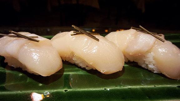 Kelp-cured scallops at Kisaku Sushi