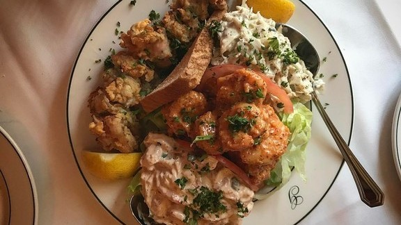 Galatoire gouté, crab remoulade, crawfish, shrimp, oysters en brochette at The Meatball Shop