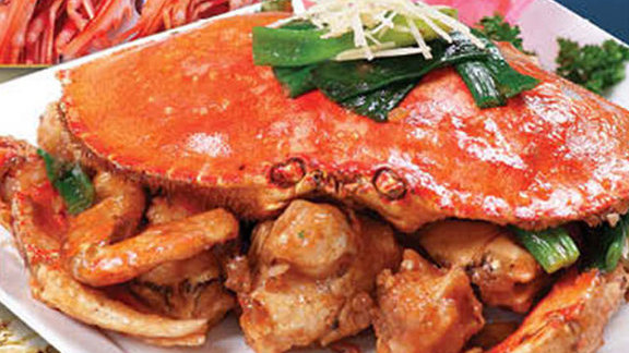Baked crab with ginger and green onion at Ocean Seafood Restaurant