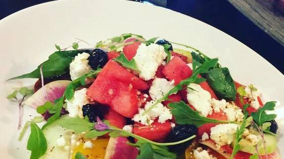 Chef Charlie Ayers reviews Greek watermelon salad at Calafia Cafe