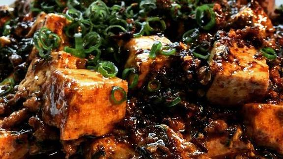 Ma po tofu in spicy oyster sauce at Ma'ono Fried Chicken & Whisky
