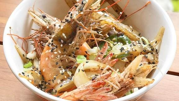 Crispy fresh salt and pepper shrimp at Alfie's DC