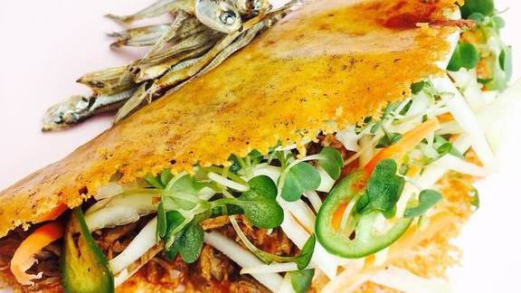 Queso shell, pasilla ropa vieja, serrano, green papaya achara, tiny crunchy fishes at Mestiza