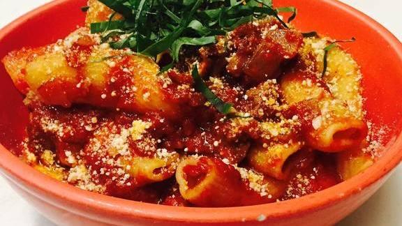 Rigatoni pasta, basil, parmesan cheese and marinara sauce at Tony's Pizza Napoletana