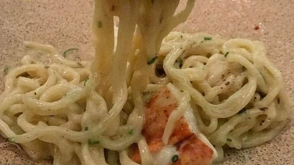 Ramen noodle cacio pepe with lobster at UNI
