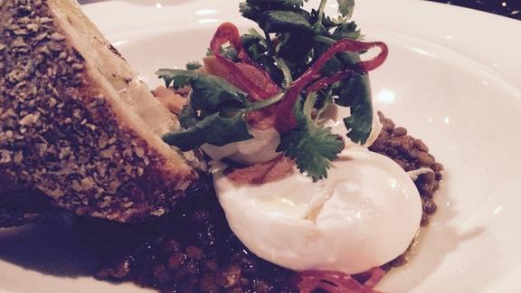 Chef Todd Richards reviews Poached Egg...lentils, yogurt, garlic at The Breslin Bar & Dining Room