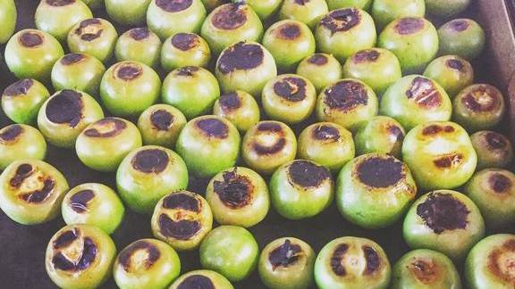 Charred tomatillos at Le Butterblume
