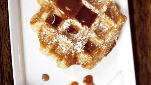 Salted caramel waffle at Medina Café