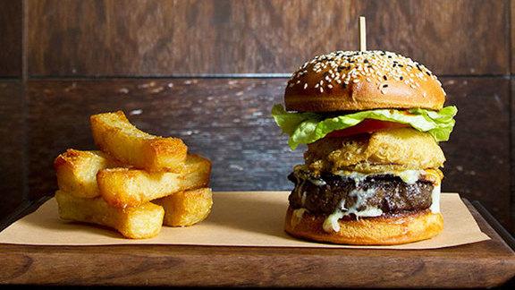 Hawksworth beef burger at Hawksworth Restaurant