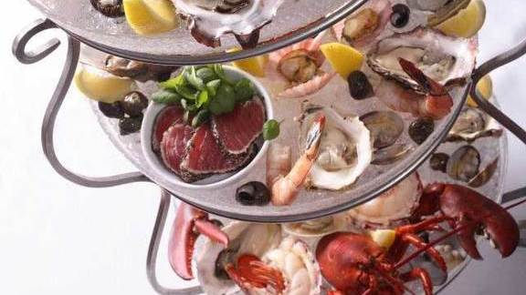 Seafood tower at Blue Water Cafe + Raw Bar