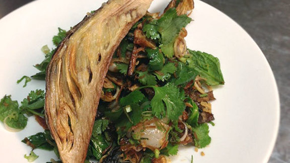 Chef Trevor Bird reviews Banana blossom salad at Maenam