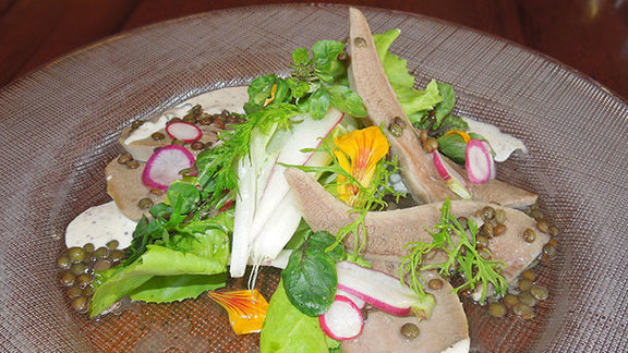 Chef Patrick Ponsaty reviews Poached veal tongue in vinaigrette at
