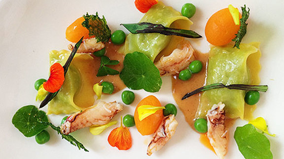 English pea agnolotti at La Valencia Hotel