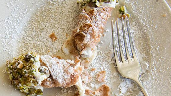 Cannoli w/ ricotta, chocolate, & pistachios at Gioia Pizzeria