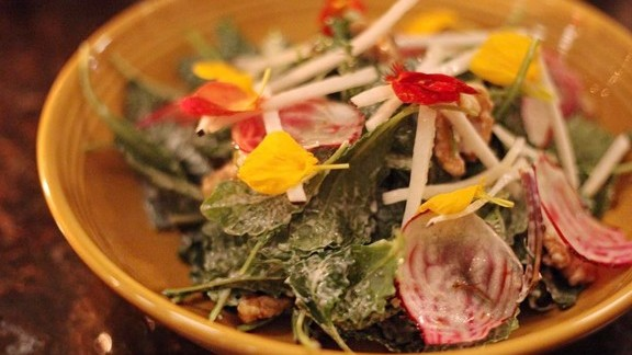 Dougie fresh salad with kale, beets, radish and champagne vinaigrette at The Douglas Room