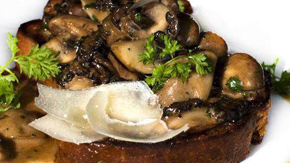 Mushrooms on toast at Tableau Bar Bistro