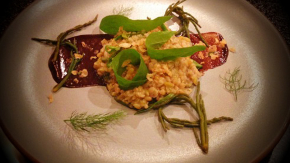 Fire roasted green farro at Burdock & Co.