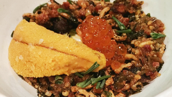 Chef Melissa King reviews Soft-poached egg, salmon roe, uni, puffed wild rice at Aster