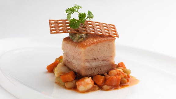 Twice cooked Berkshire pork belly at The PearTree Restaurant