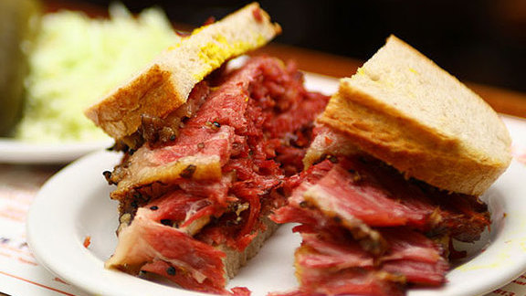 Smoked meat sandwich at Schwartz's Montreal Hebrew Delicatessen