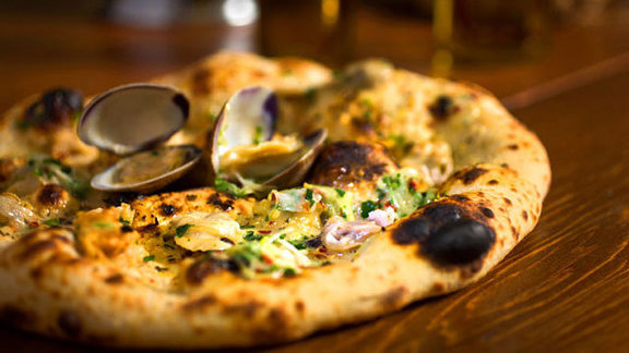 Clam & garlic pizza at Domenica