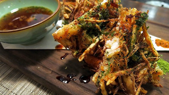 Kakiage tempura with black tiger shrimp at Iyasare